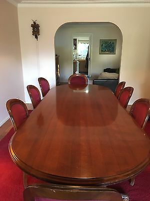 Antique 3m American Mahogany Circa 1890's Dining Table & 9 Chairs.