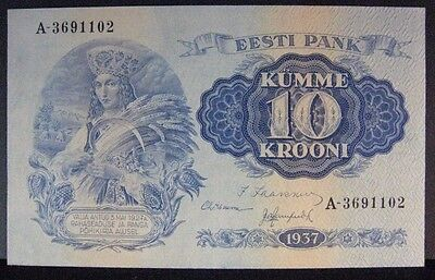 1937 Estonia 10 Krooni Bank Note Very High Grade       ** FREE U.S SHIPPING **