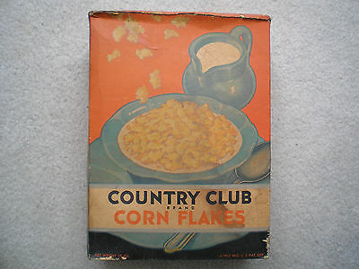 Kroger Country Club Corn Flakes Cereal Box 1932 Complete