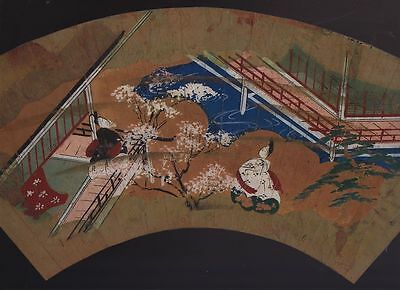 Orig Japanese Hand-Painted Fan Genji Scene c1780 #1
