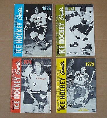Vintage Official Ncaa Collegiate  Hockey Guides 1971 1972 1973 1974
