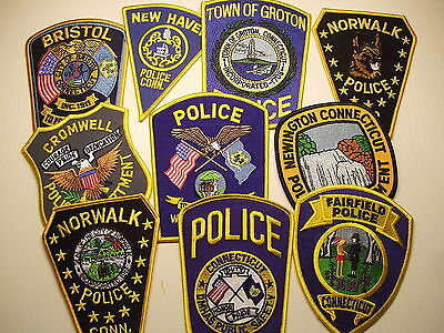 police patch  LOT OF 10 POLICE PATCHES FROM CONNECTICUT   B