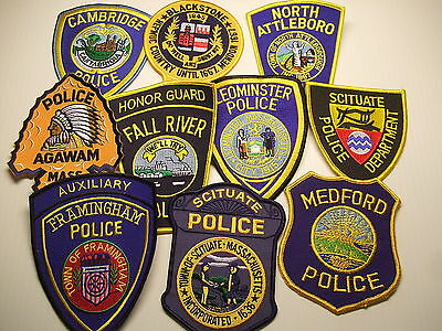 police patch  LOT OF 10 POLICE PATCHES FROM MASSACHUSETTS