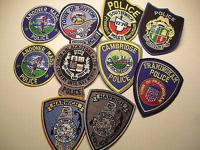 police patch  LOT OF 10 POLICE PATCHES FROM MASSACHUSETTS   B