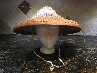 Vint AUTHENTIC ASIAN CONICAL COOLIE HAT Bamboo Straw China Japan RICE PADDY FARM
