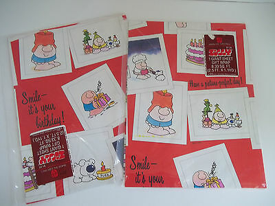 Vintage 2 Pkg Ziggy Birthday Wrapping Paper American Greetings 1984 Unopened NOS