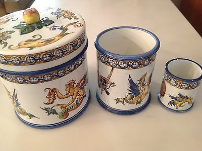 3 Antique Porcelain Hand Decorated Containers One with Lid, European Signed