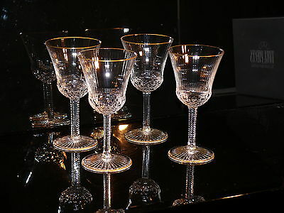 VERY RARE ST LOUIS  CRYSTAL APOLLO 24 ct GOLD EDGED CLARET GLASS 100% AUTHENTIC