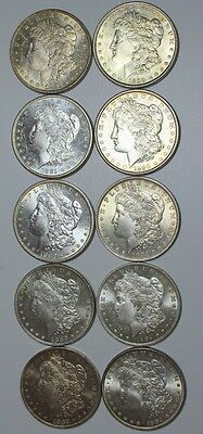 Morgan Lot #1 ~ (10 ) Coins ~ MS/BU/PL/DM ~ FREE SHIPPING  Nicer Grades