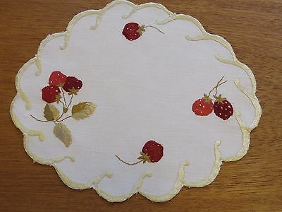 Antique Doily Hand Embroidered Linen Strawberries Society Silk Table Mat 9""