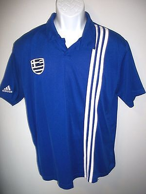 Mens Embroidered Adidas Greece National Team Football Soccer Jersey  sz. L  EUC