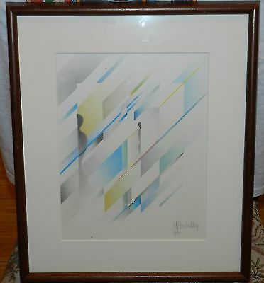 Contemporary Geometric Art Print Artist Signed 4/80 Framed And Matted