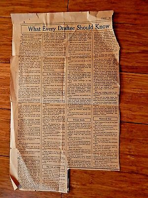 "Milwaukee Journal Newspaper Clipping ""What Every Draftee Should Know"" 1940 WW2"