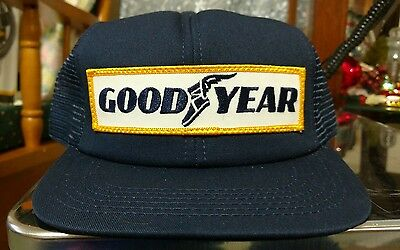 VINTAGE 1980's Goodyear Tires Snapback Hat Navy Blue Mesh Cap  MINT CONDITION