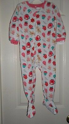 nwt-Carter's-Girls-4T-One Piece-Fleece Footed Pajama Sleeper-pink-cupcakes++