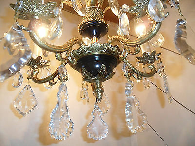 Vintage-Antique French Empire Chandelier  Lead Crystals Gold Brass