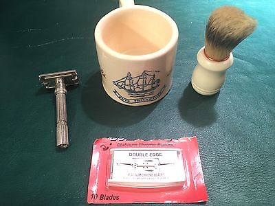1940s Hull Pottery Old Spice Mug W/ Gillette Adjustable Razor, Blades And Brush