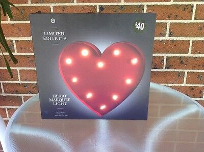 Heart Marquee LED Light. Battery Operated. Like New In Box