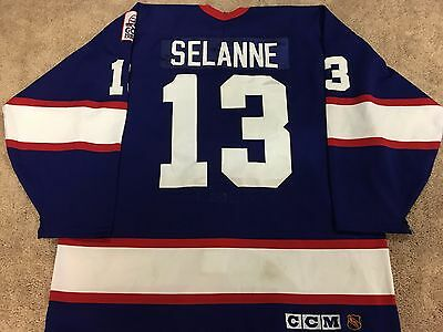 TEEMU SELANNE 93'94 Blue Winnipeg Jets NHL Game Worn Used Jersey COA