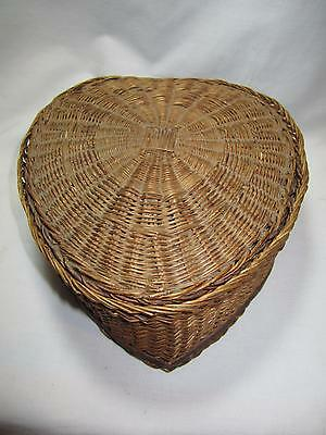 Antique Wicker Heart Shaped Satin Quilted Lined Sewing Basket Box Primitives