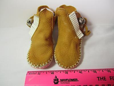 Small Soft Leather Moccasins with Bells & Fringe Size 2-3