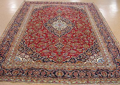 9 x 13 Persian KASHAN Hand Knotted Wool Floral Red Blue Traditional Oriental Rug