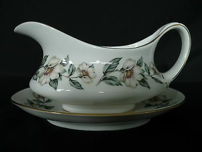 Crown Staffordshire, Christmas Rose, Gravy Boat and Saucer