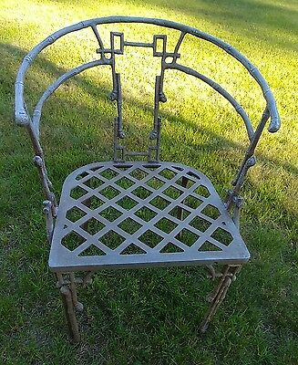 Vintage Cast Aluminum Chinese Bamboo Patio Chair Set