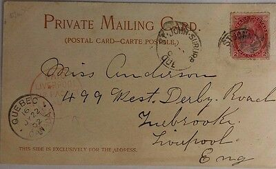 Canada 1902 Champlain Street Quebec Post Card Paid Liverpool U S Packet Postmark