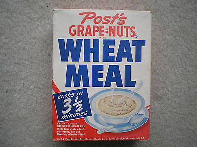 Post's Grape=Nuts Wheat Meal Cereal Box 1948 Complete