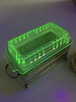 RARE Vintage Uranium Green Glass Butter Box & Lid Art Deco with EPNS Stand