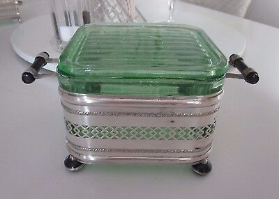 RARE Vintage Uranium Green Glass Large Butter Box & Lid Art Deco with EPNS Stand