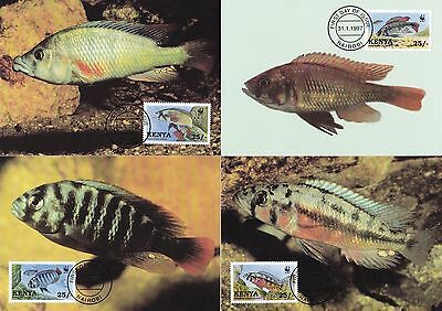 Lake Victoria Cichlid Fishes Kenya 1997 WWF 4 Official Maximum Cards