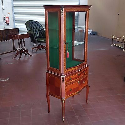 Antique/reproduction Serpentine Inlaid French Louis Style Display Cabinet