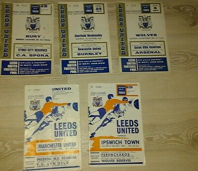 Leeds United Programmes x 5 from 1960's