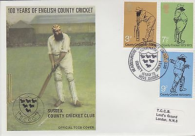 Gb Stamps First Day Cover 1973 Official Tccb Cricket Cover Sussex Rares
