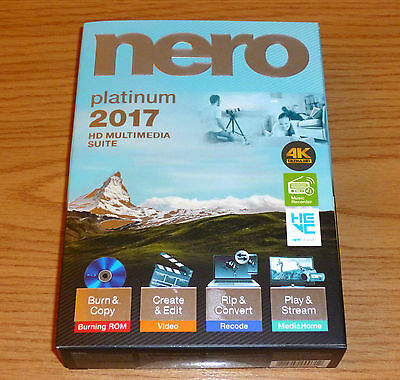 NERO 2017 PLATINUM Multimedia Suite = 4K Ultra HD = English/French = NEW IN BOX