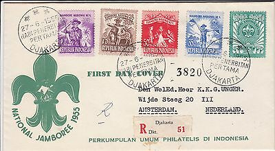 Scouting National Jamboree 1955 Indonesia registered FDC to The Netherlands