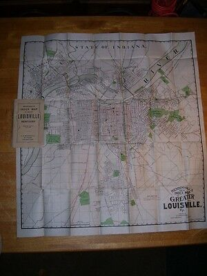 """1911 Mendenhall's Index Map Of Greater Louisville Kentucky (28x30"""")"""