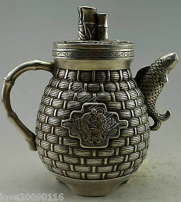 Collectible Decorated Old Handwork Miao Silver Carve Basket Fish Tea Pot Teapot