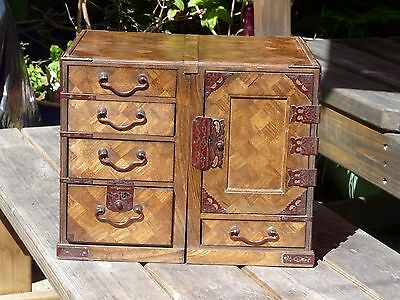 A small antique Japanese Parquetry Travelling Scholars Desk/Tansu Cabinet c1880