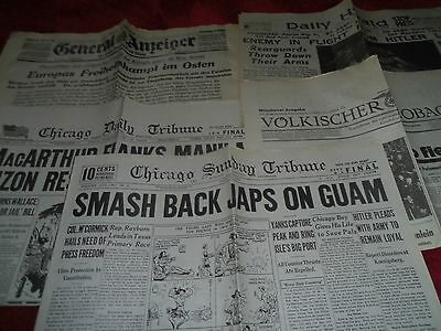 5 X World War Two Wwii 2 Newspapers Yanks Push Back Japs In Guam Daily Herald .