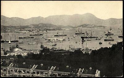 Vintage Postcard Hong Kong Harbour - The Naval Anchorage, The Kings Birthday