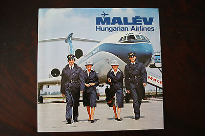 Official Marketing Brochure Malev Hungarian Airlines From 1970S