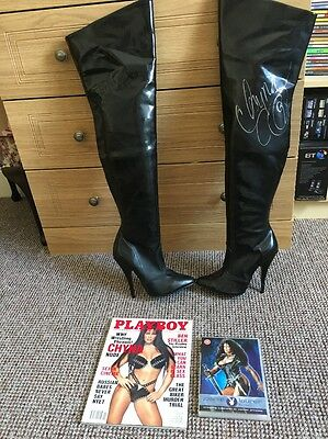 CHYNA SIGNED BOOTS WITH COA, With Playboy Magazine And DVD, WWF,WWE,WCW,ECW,TNA,