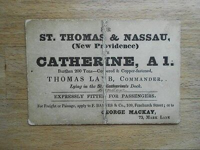 Antique business card 19thC London to Nassau ship freight & passage