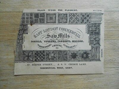 Antique business card 19thC Saw Mills for Wood Flooring Panels - Victorian