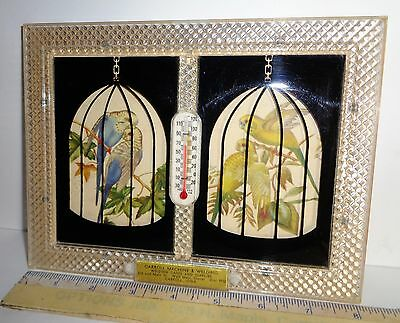 Vintage Caged Parrot Parakeet Reverse Paint Advertising Very Nice