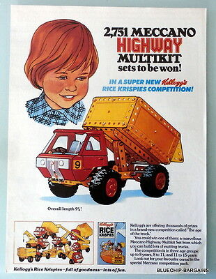 Vintage 1961 MECCANO and KELLOGG'S Advert - Frame - Collect - Mancave - Display
