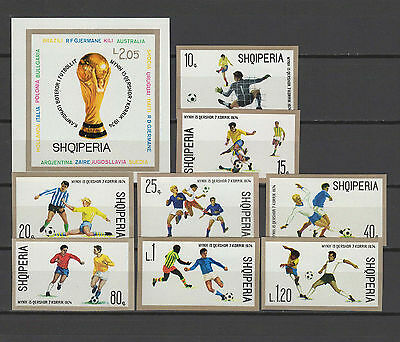 Football Soccer World Cup 1974 Albania set of 8 + s/s imperf. MNH